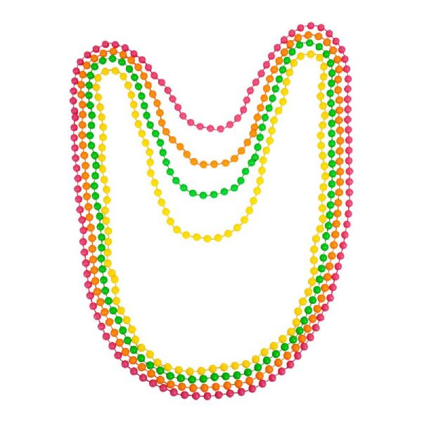 80s Neon Beads Jewellery for 80s Disco Pop Retro Fancy Dress Beads 4pc Set